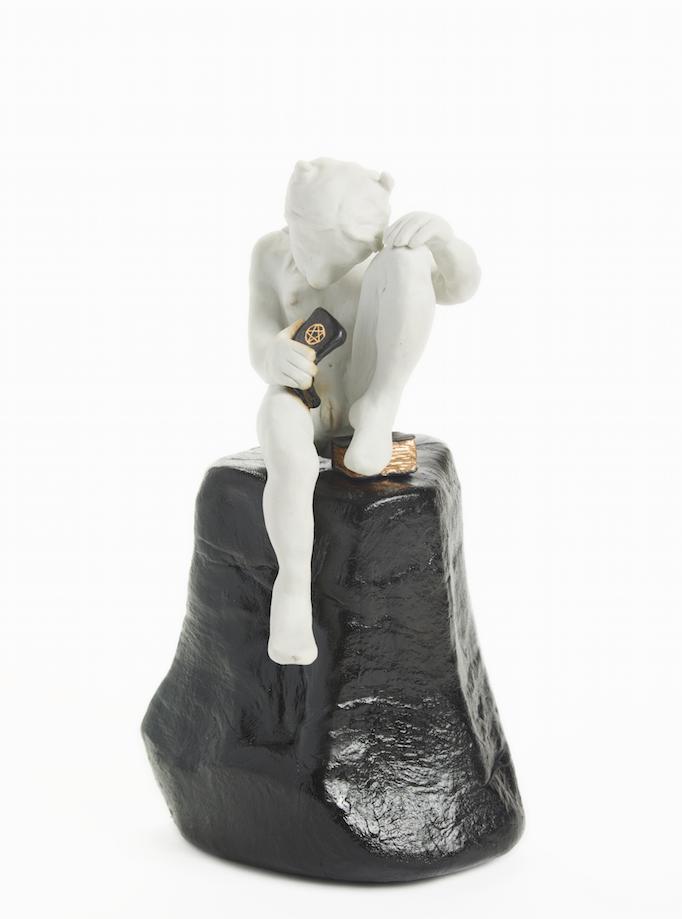 Mary Frey, Self Examination, 2015. English porcelain , death metal Engobe , luster , resin and fiberglass.