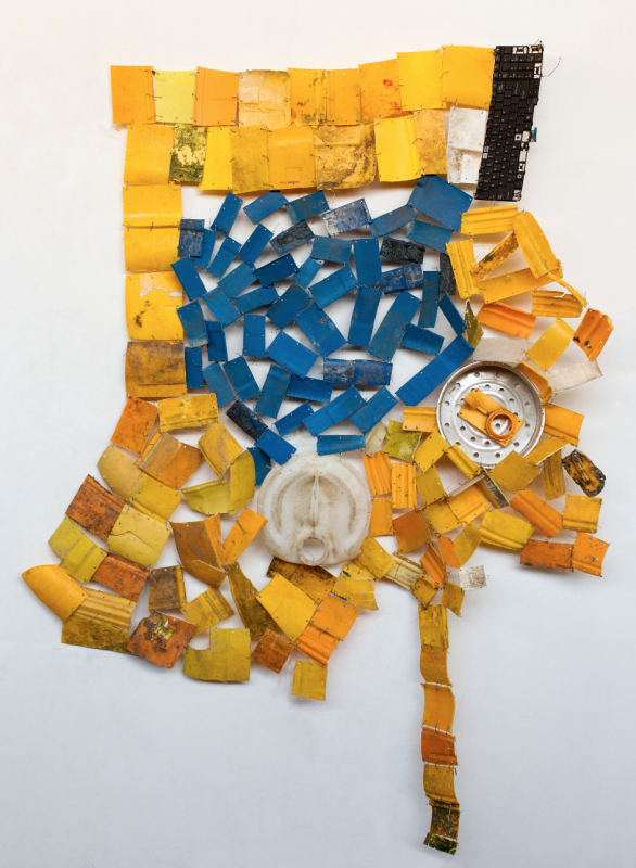 "Serge Attukwei Clottey, ""Retrospective"", 2015. Plastic and wire. 52 x 63 inches"