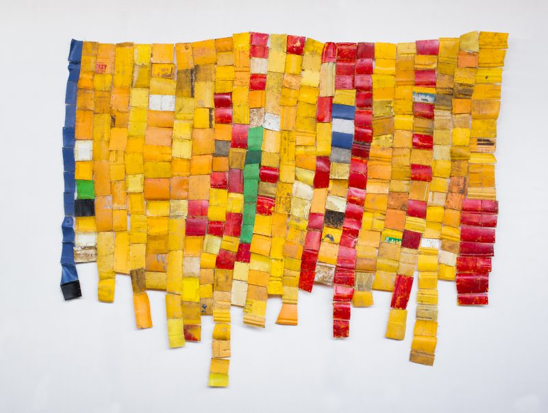Serge Attukwei Clottey Freedom movements, 2015 Plastic, wire, and oil paints 76 x 94 in