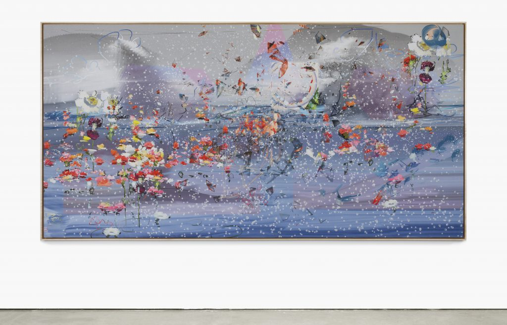 "Petra Cortright DSBfat-fuckersAZPadded""mikrofon-mikrokontrollerz"".pcXM , 2016. Digital painting on raw Belgian linen, 47 x 92 in. unique"