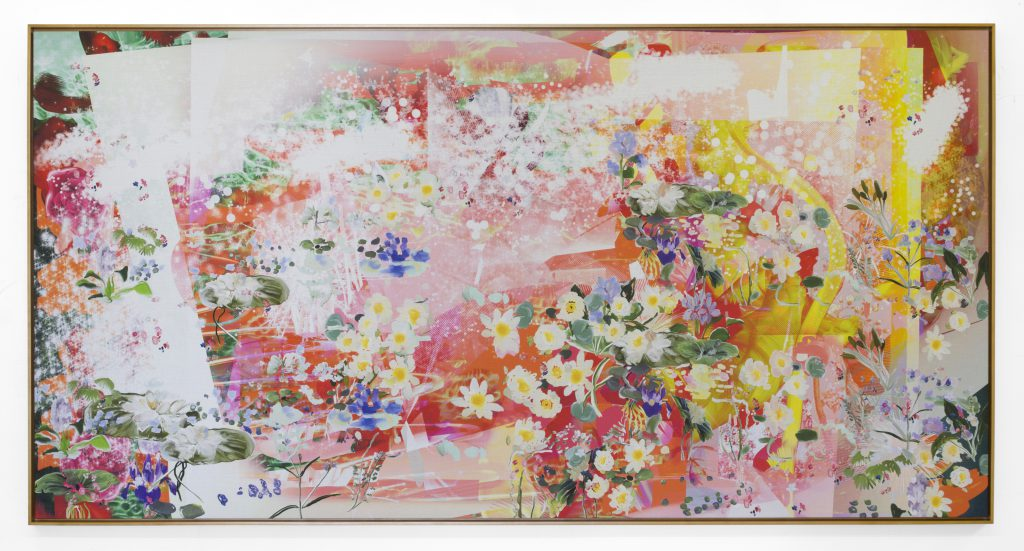 Petra Cortright, deicideCHEMICAL_records.tbl, 2015. Digital painting on raw Belgian linen, 47 x 92.5 inches. Courtesy of the artist and Ever Gold [Projects].