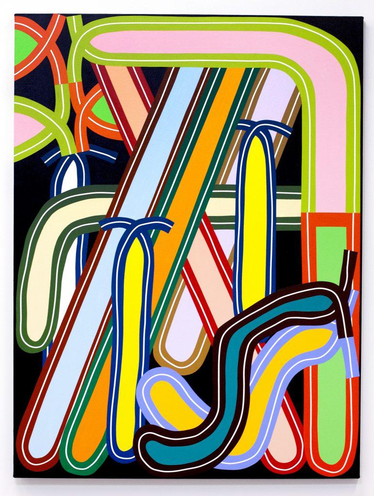 Eric Shaw Deflated Loop Config, 2016. Acrylic on canvas. 48 x 36 inches.